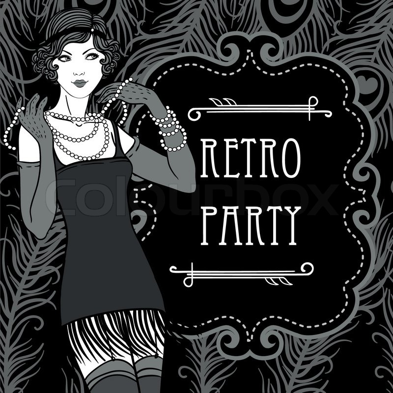 retro party einladung design im stil der 20er jahre vektorgrafik colourbox. Black Bedroom Furniture Sets. Home Design Ideas