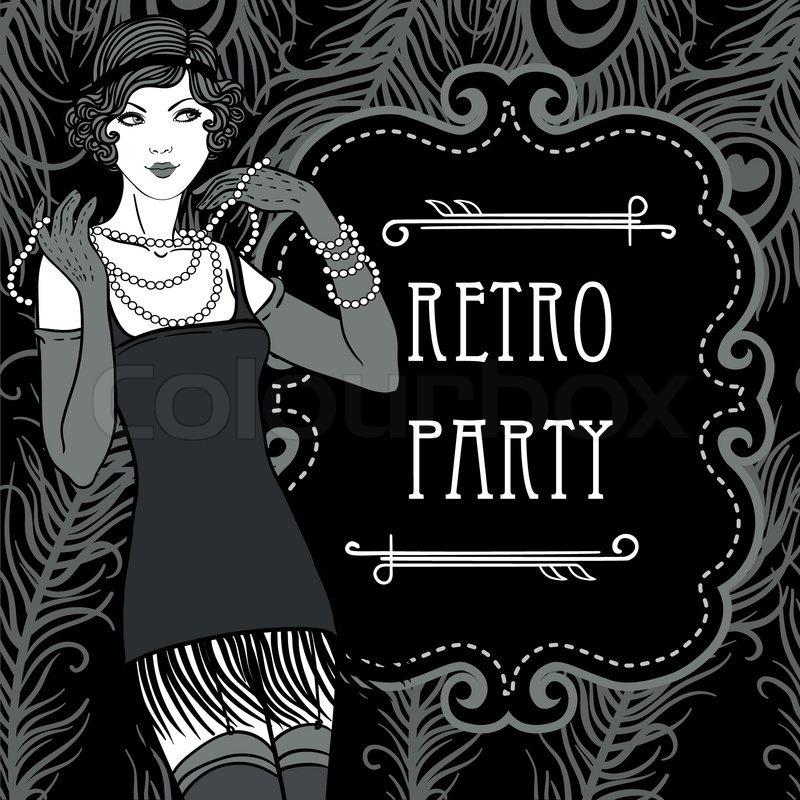 Retro Party Einladung Design im Stil der 20er Jahre | Vektorgrafik ...