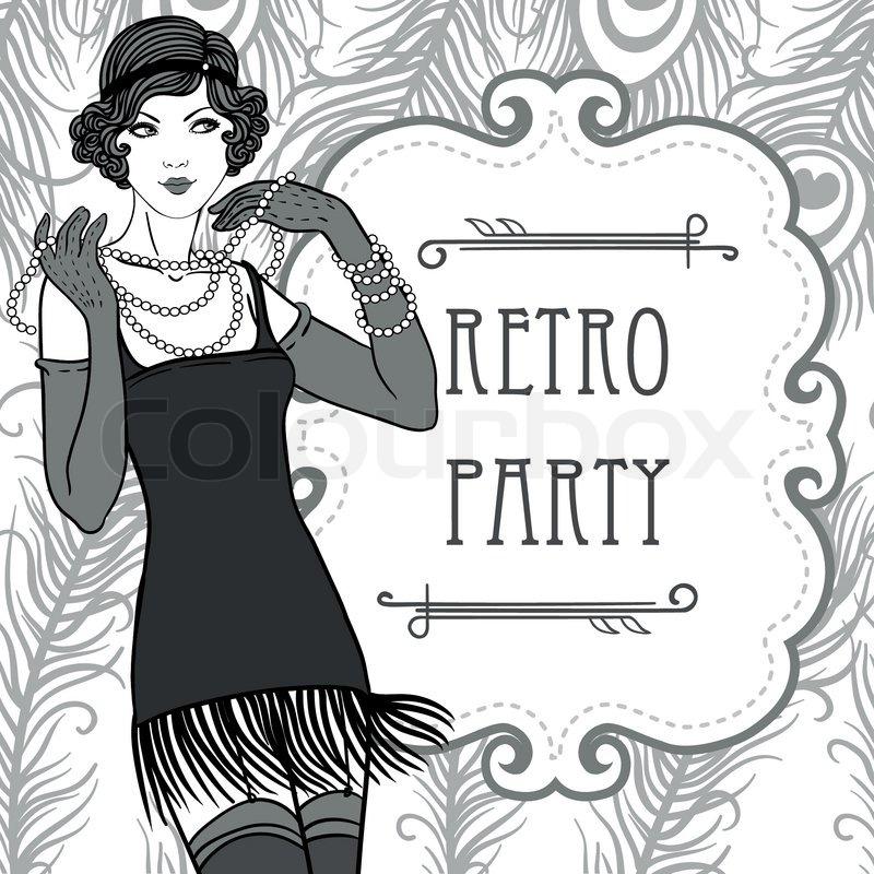 flapper retro party einladung design im stil der 20er. Black Bedroom Furniture Sets. Home Design Ideas