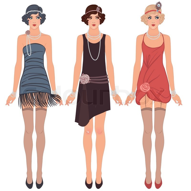 Three Young Flapper Women Of 1920s Stock Vector Colourbox