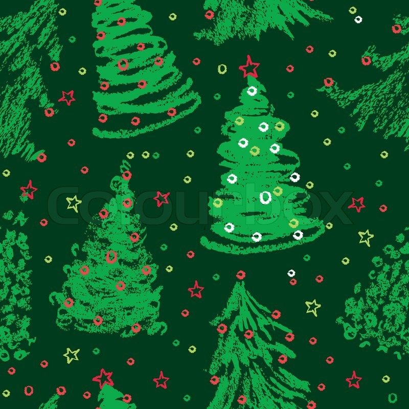 Christmas Tree Pattern.Seamless Christmas Trees Pattern Stock Vector Colourbox