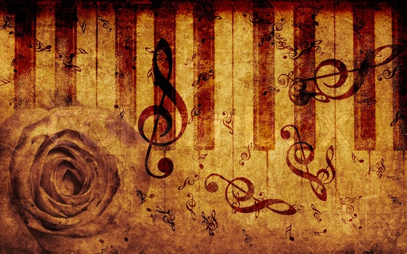 Retro Music Wallpaper: Vintage Background With Rose And Notes
