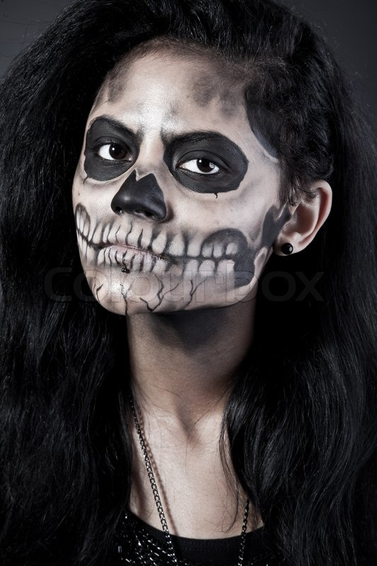 young woman in day of the dead mask skull halloween face art stock photo colourbox - Halloween Day Of The Dead Face Paint