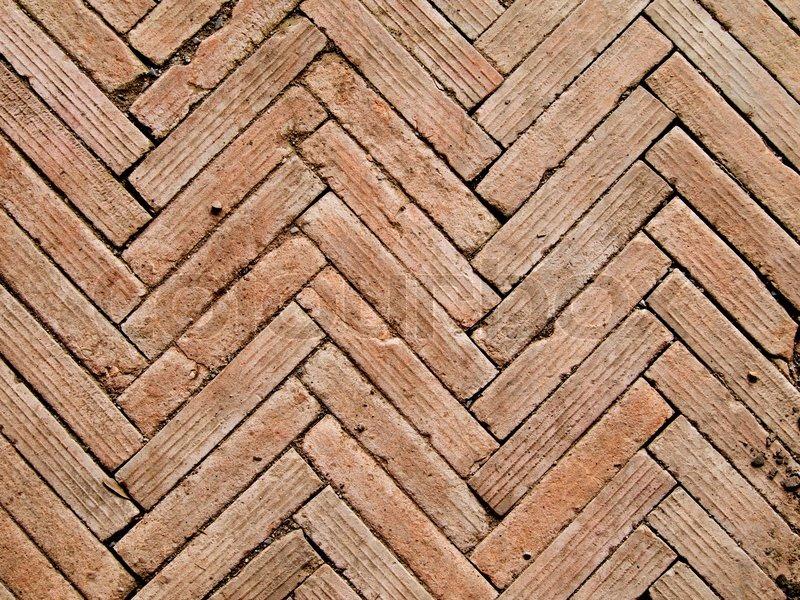 Zeitgenössische Fischgräten-Muster-Brickwall-detail | Stockfoto ...