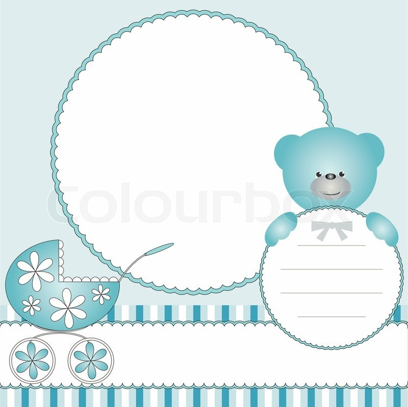 Babies blue background with pram and teddy bear | Stock Vector ...