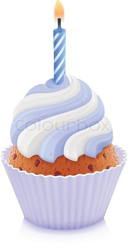 Blau Geburtstag Cupcake Vektorgrafik Colourbox