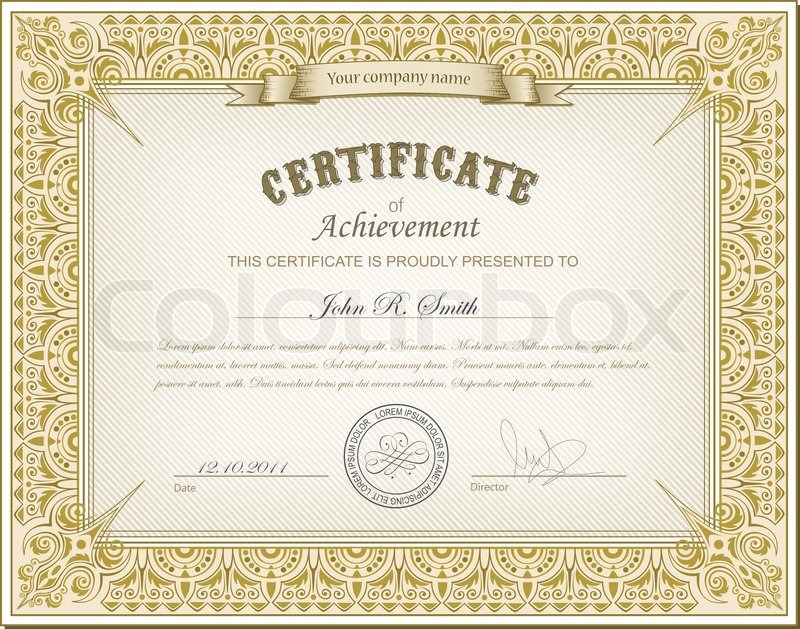 Vector illustration of gold detailed certificate | Stock Vector ...