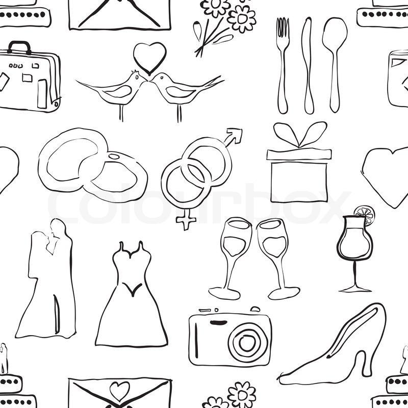seamless doodle wedding pattern