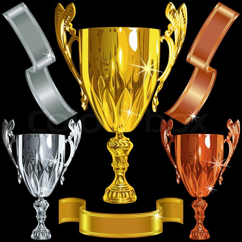 Winning Gold Silver Bronze Cups And Stock Vector