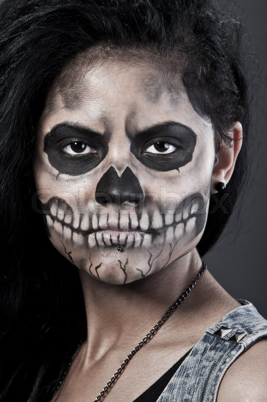 young woman in day of the dead mask skull halloween face art stock photo colourbox