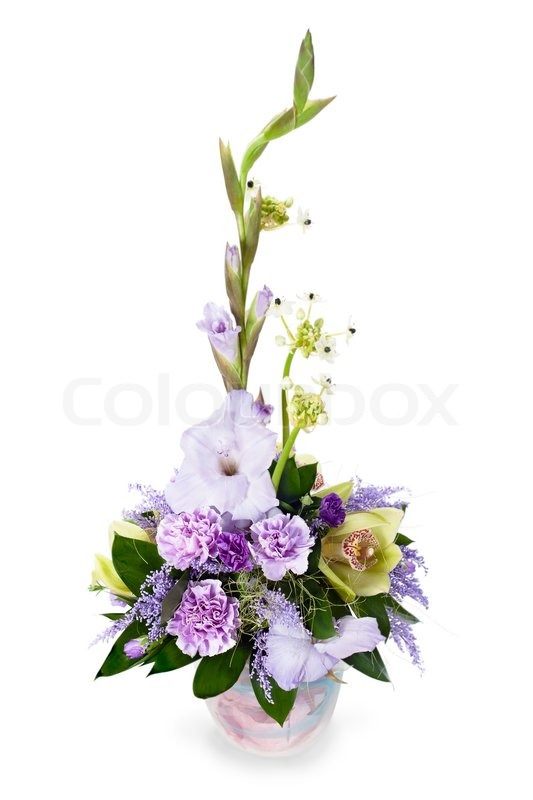 Colorful flower bouquet from gladioluses arrangement centerpiece in ...