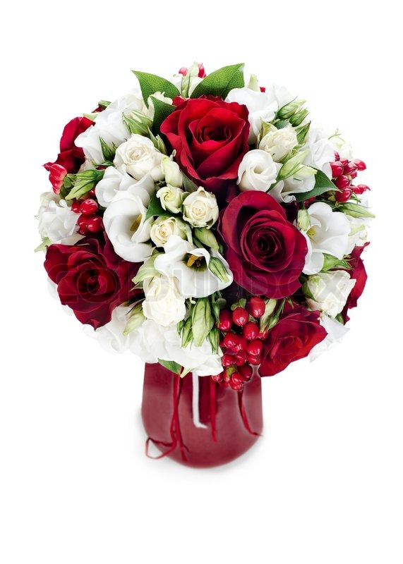 Colorful flower bouquet arrangement centerpiece in red vase isolated colorful flower bouquet arrangement centerpiece in red vase isolated on white background stock photo colourbox mightylinksfo