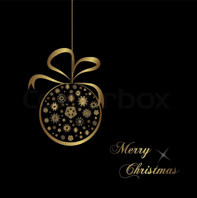 gold christmas ball on black background stock vector colourbox - Gold Christmas