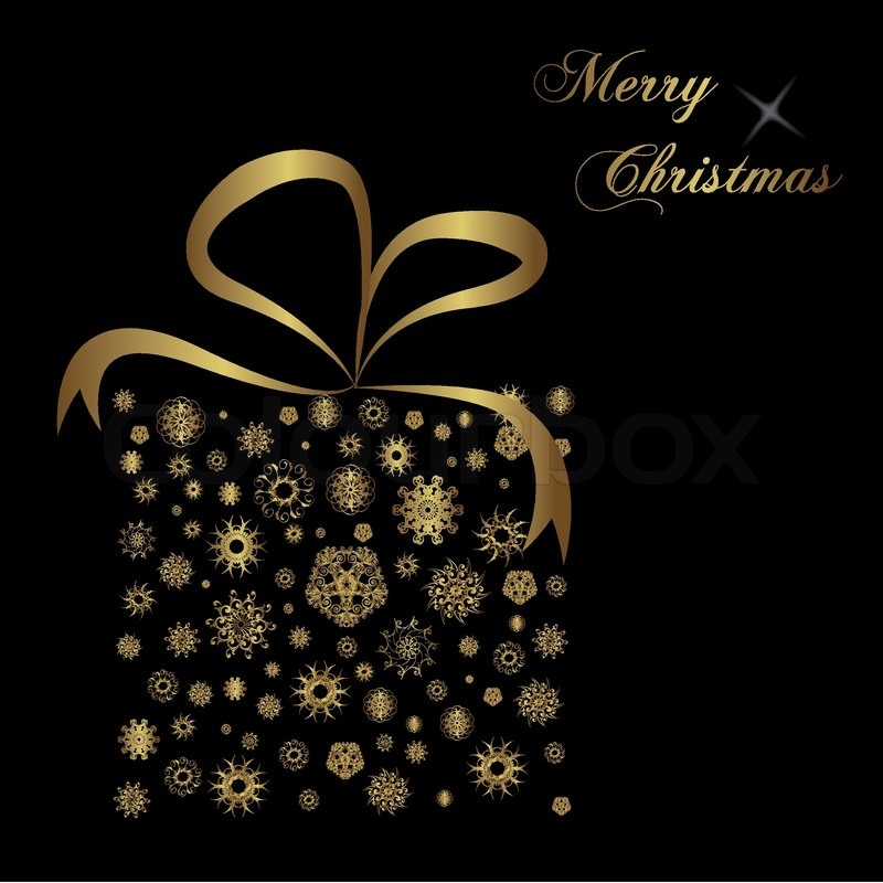 Gold Christmas Gift On Black Background Stock Vector