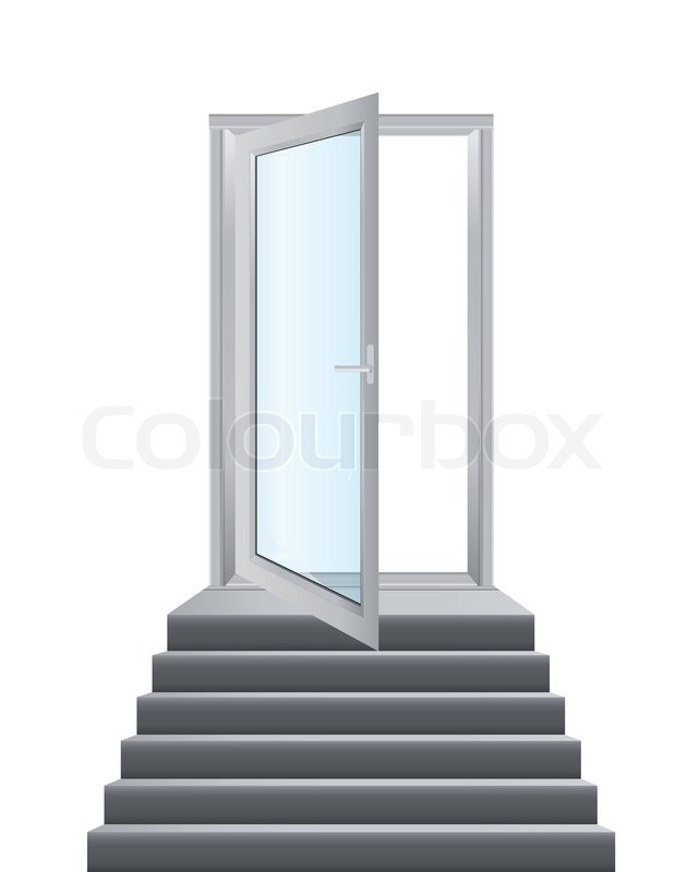 Open White Doors With Glass Panels Stock Vector Colourbox