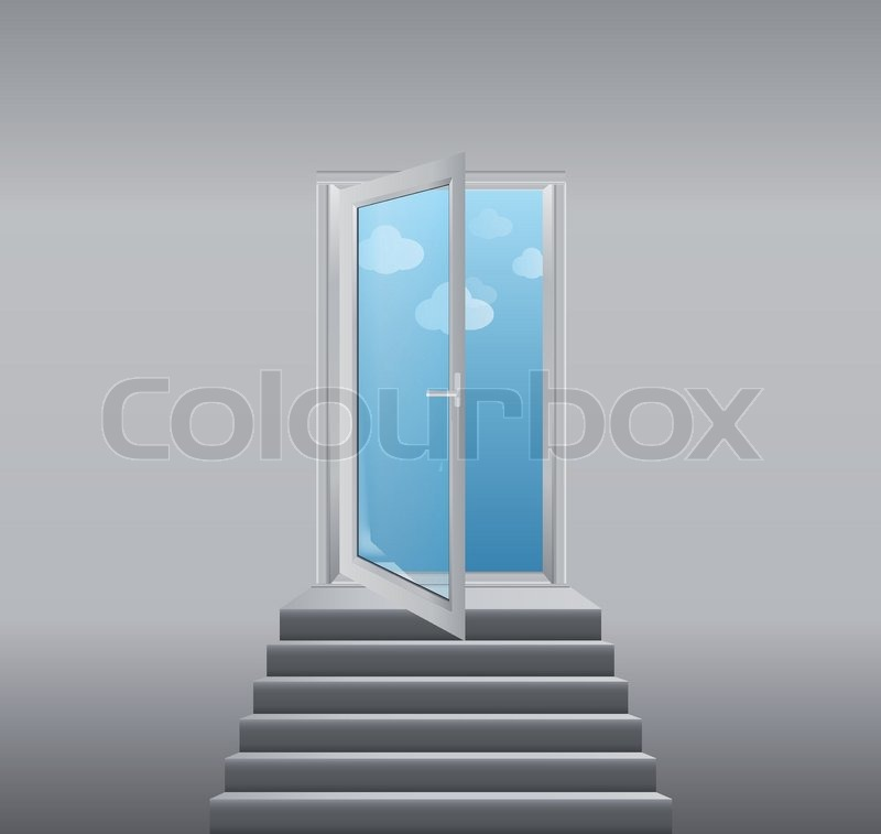 Open White Doors With Glass Panels With Stairs Stock Vector
