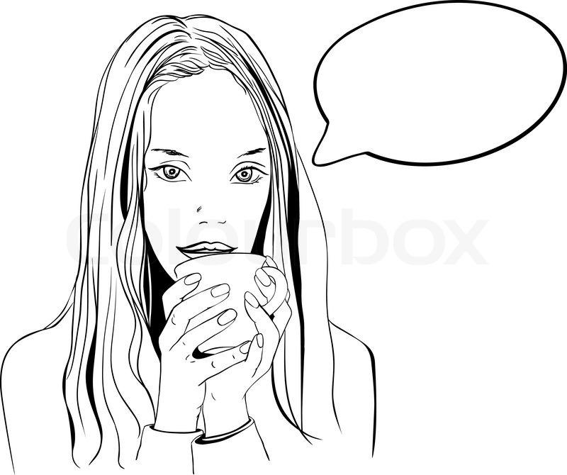 Woman Drinking Coffee Stock Vector Colourbox