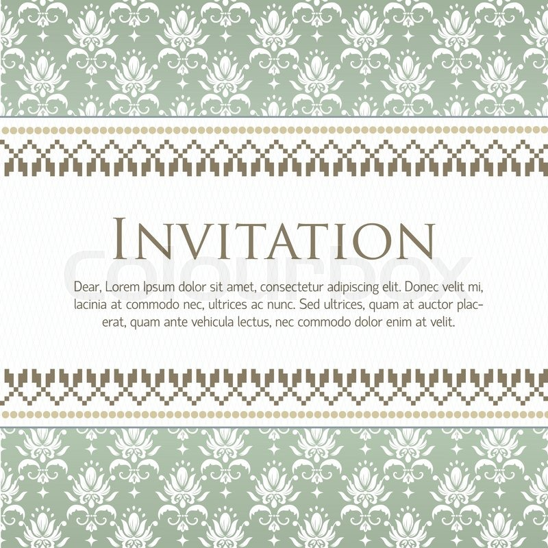 Vector invitation card with pattern stock vector colourbox stopboris Gallery