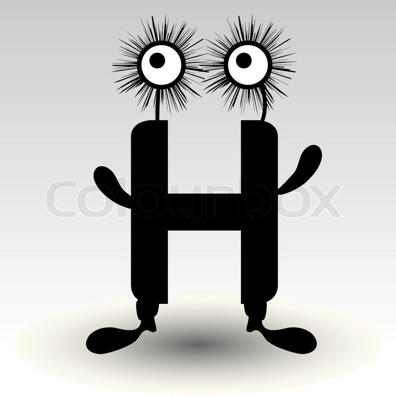 Character Design Letter : Letter h funny character design stock vector colourbox
