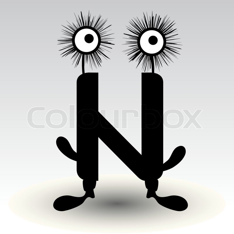 Character N Design : Letter n funny character design stock vector colourbox