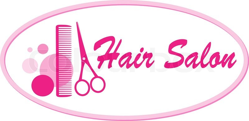 Beauty Hair Salon Signboard With Pink Scissors And Comb Stock