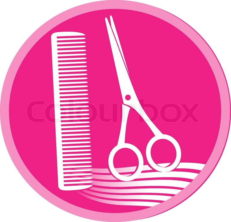 Pink symbol of hair salon with scissors, hair and comb ...