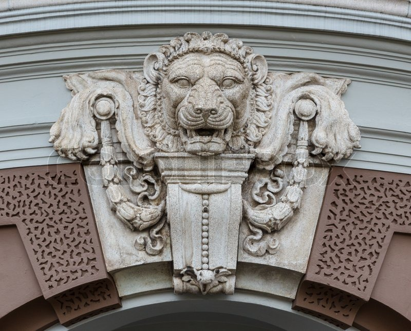 Head Of Lion Decorated Over The Arch Door Stock Photo