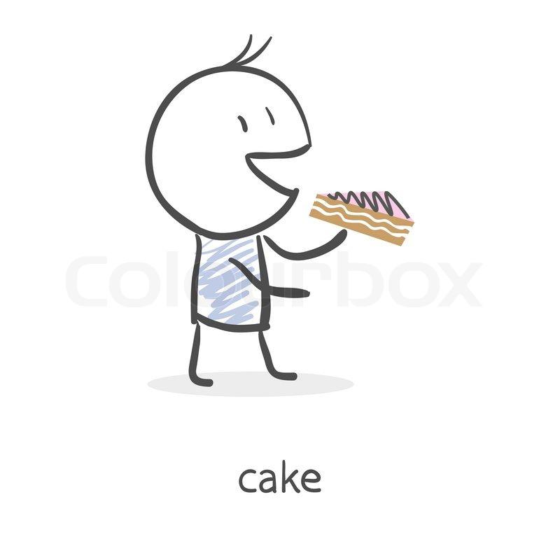 Cartoon Junge Kuchen Essen Vektorgrafik Colourbox