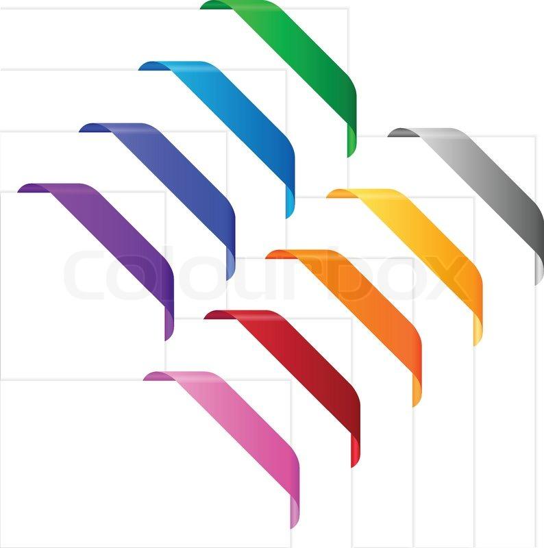Ecke Bänder in verschiedenen Farben. leer für bunte Bänder auf Ecken ...