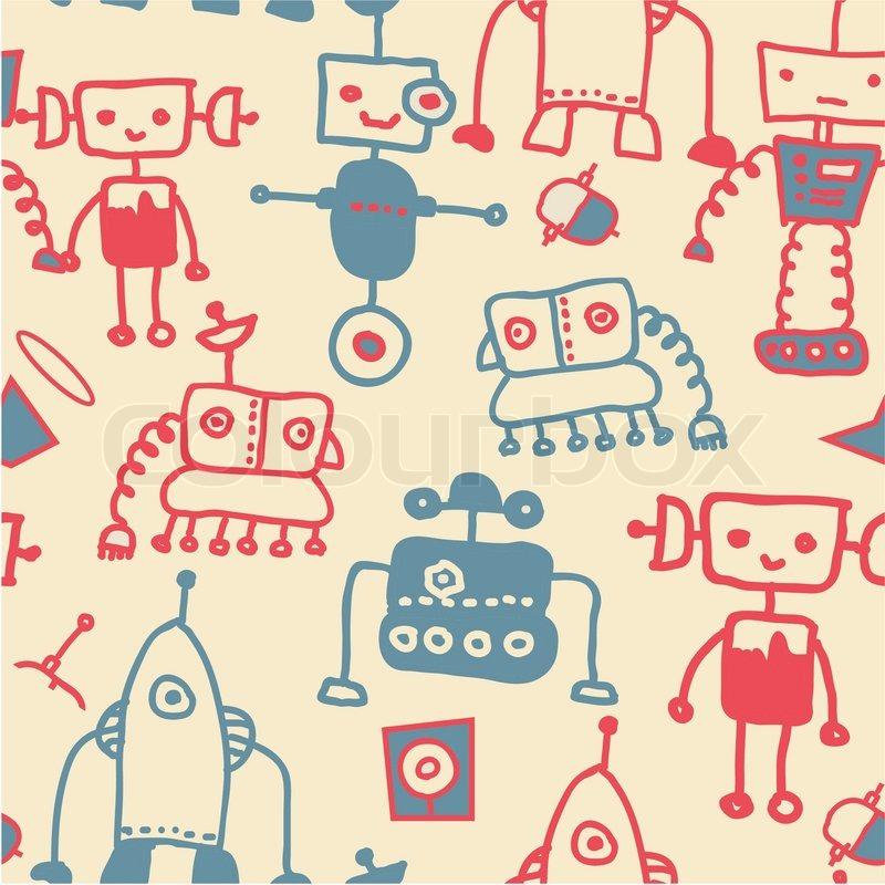 Cute Robot Doodles Seamless Doodle Robots Vector