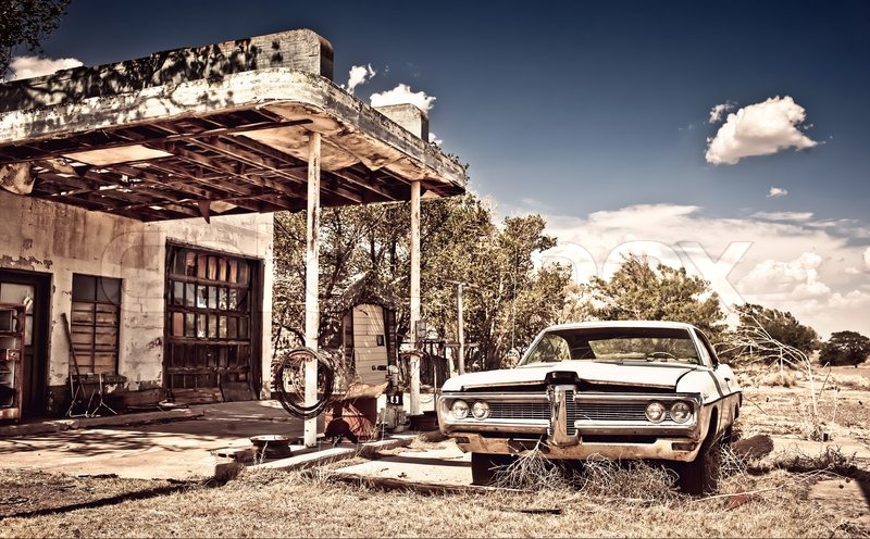 Abandoned Restaraunt On Route 66 In New Mexico Stock