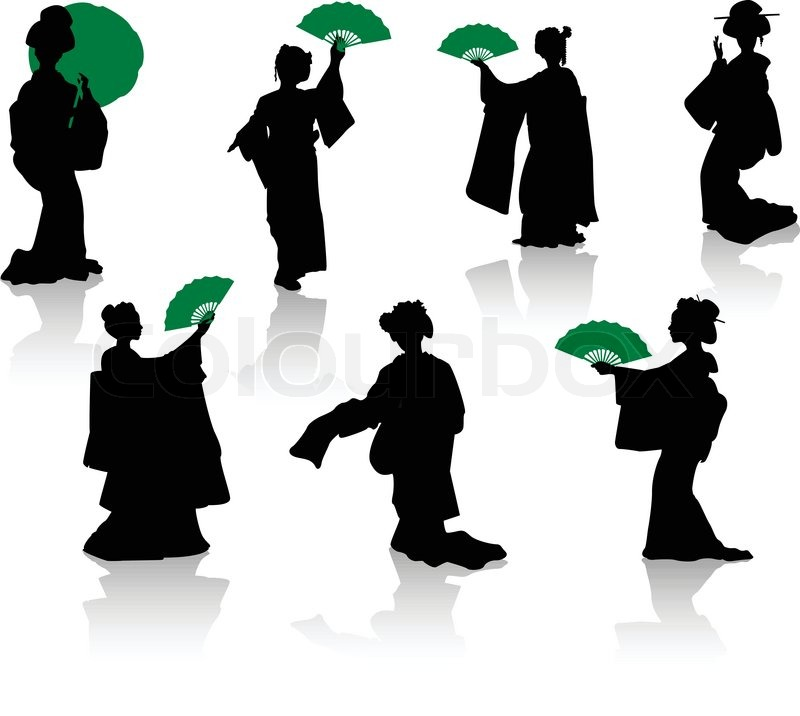 Silhouettes Of Dancers Of Japanese Theatre Kabuki And