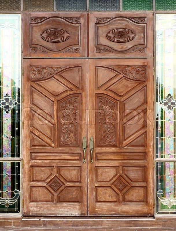 Ancient Wooden Door And Texture In Temple Stock Photo