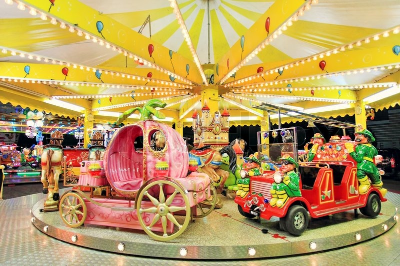 Round Carousel With Firefighter 39 S Car Coach And Horses At