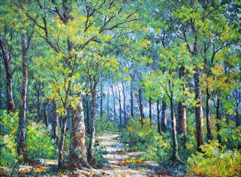 Oil Painting Picture On Canvas Of A Walkway In Forest