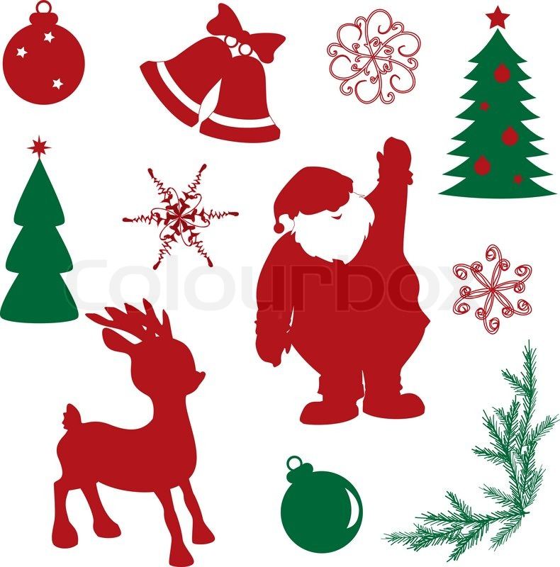 Set of christmas silhouette shapes  Stock Vector  Colourbox