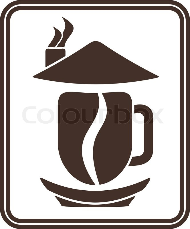 Symbol With Coffee Cuphouse And Bean Stock Vector Colourbox