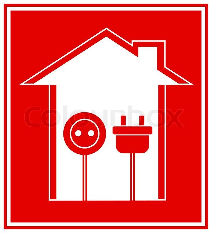 Einfache technische rotes Symbol von Elektrizität mit Haus ...