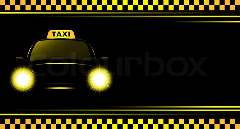 Background With Taxi Sign And Cab Stock Vector Colourbox