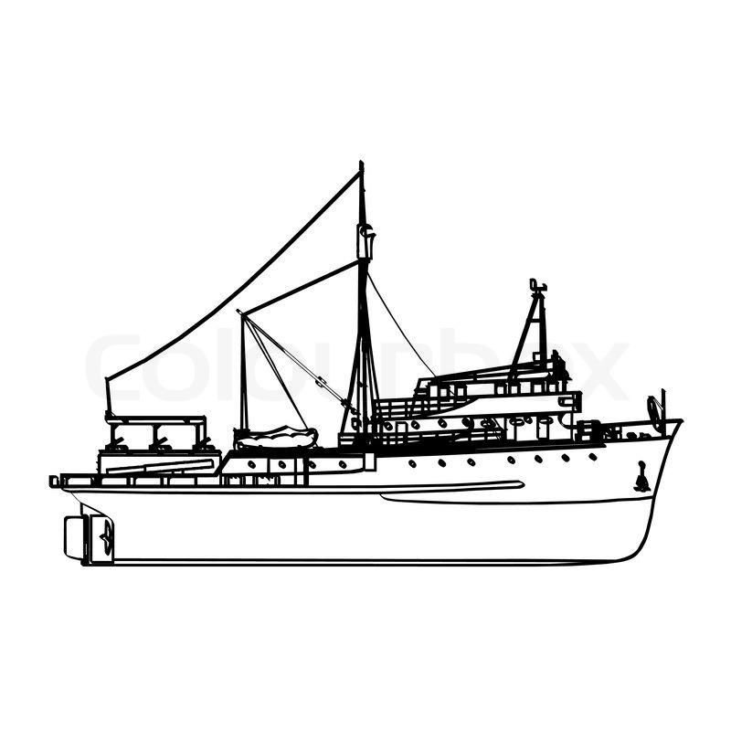 Line Art Boat : Fishing boat stock vector colourbox