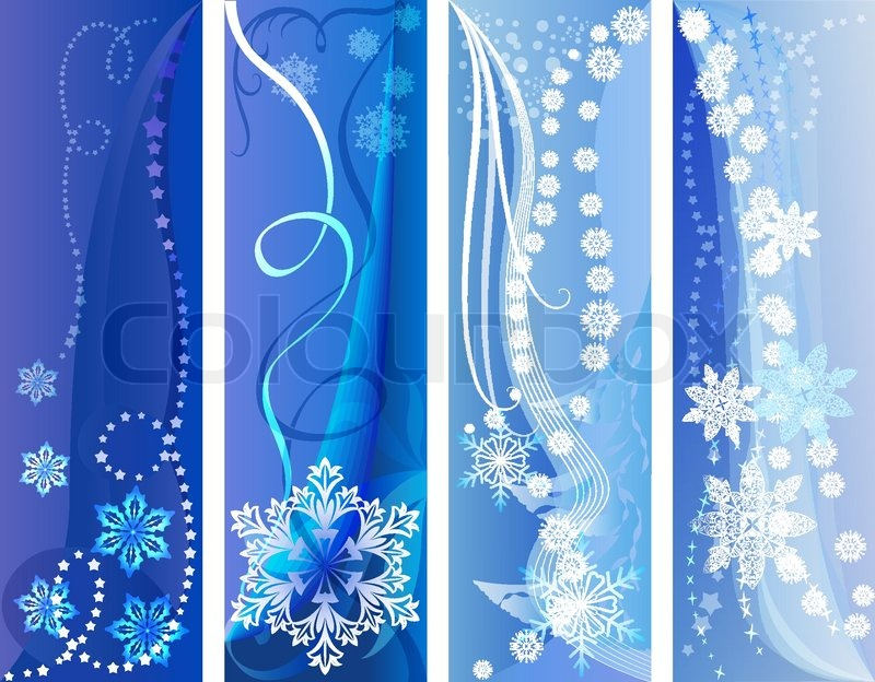 blue and white vertical winter vector banners stock
