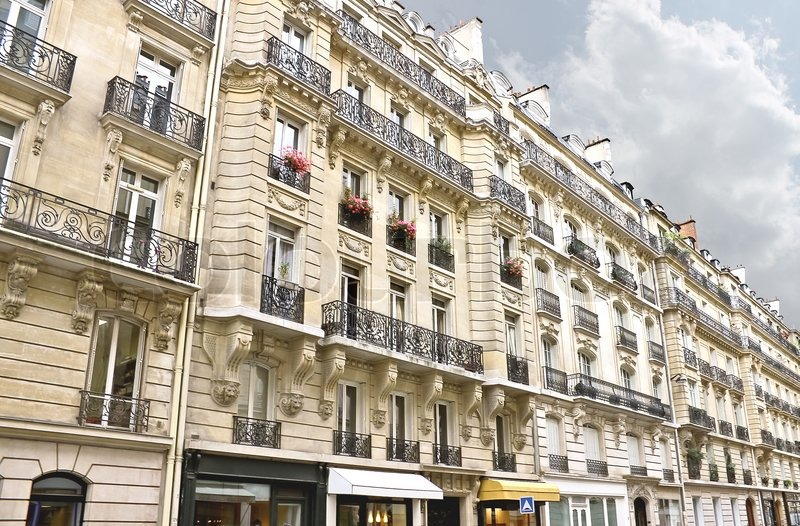 facade of a traditional building in downtown paris france stock photo colourbox. Black Bedroom Furniture Sets. Home Design Ideas