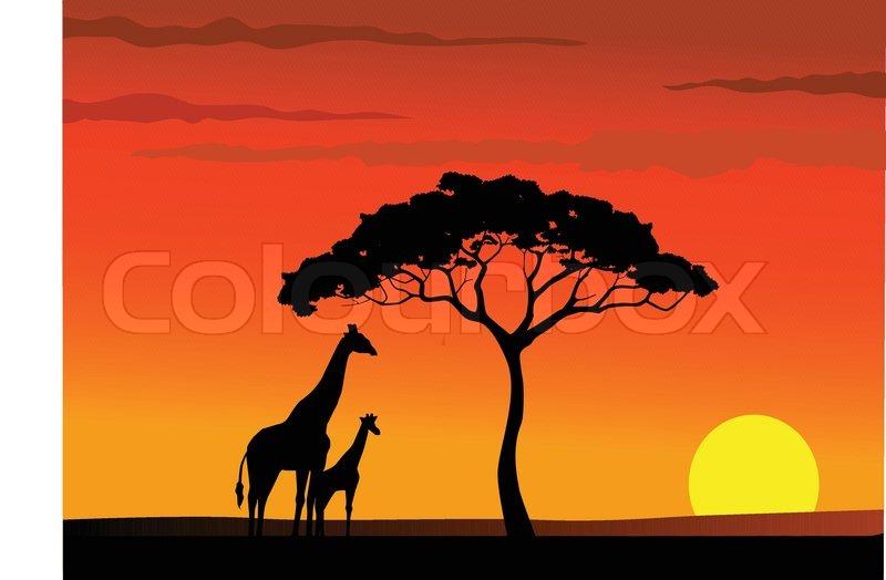 Safari Africa sunset background | Stock Vector | Colourbox