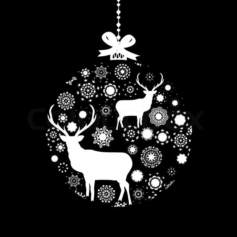black and white christmas ball eps 8 stock vector colourbox - Christmas In Black And White