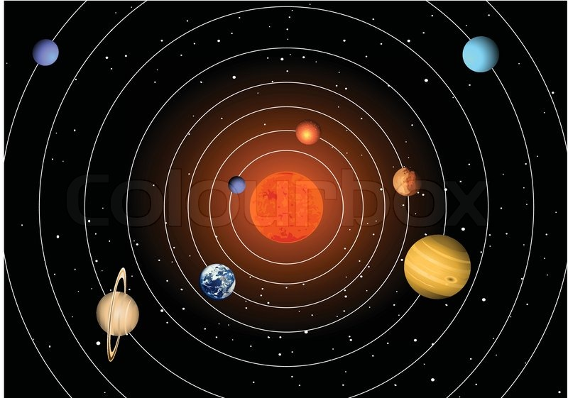 Solar System With 8 Planets Vector Colourbox