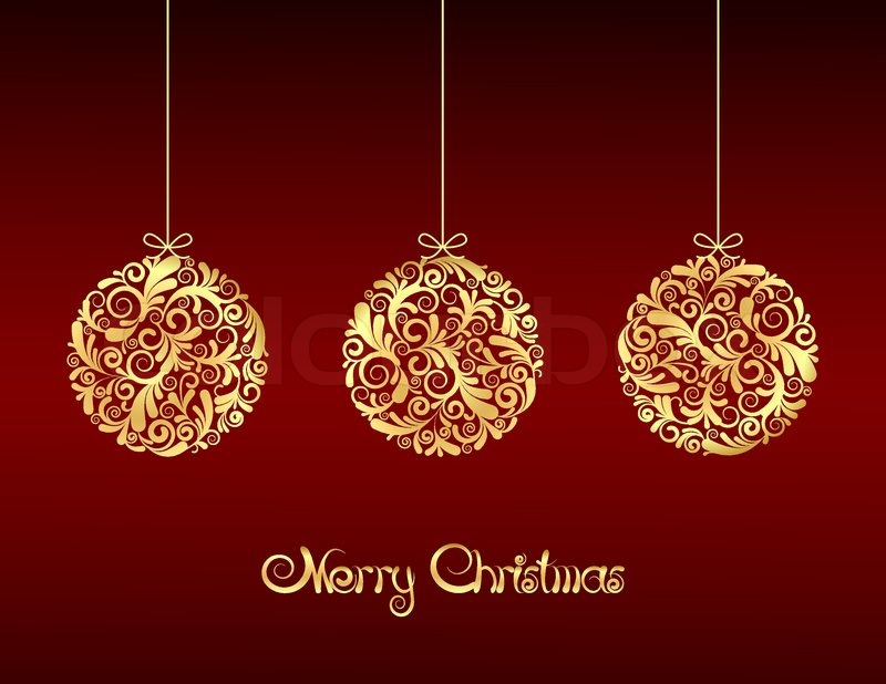 gold christmas balls on red background stock vector colourbox