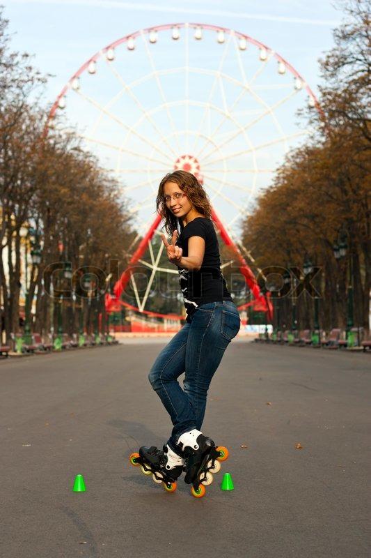 roller skate girl skating young woman putting on skates