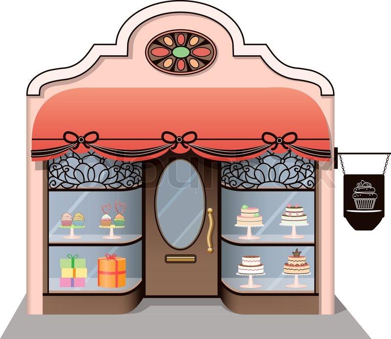 Открытки, картинки витрина магазина сладостей в карандаше