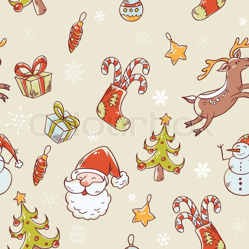 Seamless Christmas hand drawn pattern with fir tree, stocking, candy ...