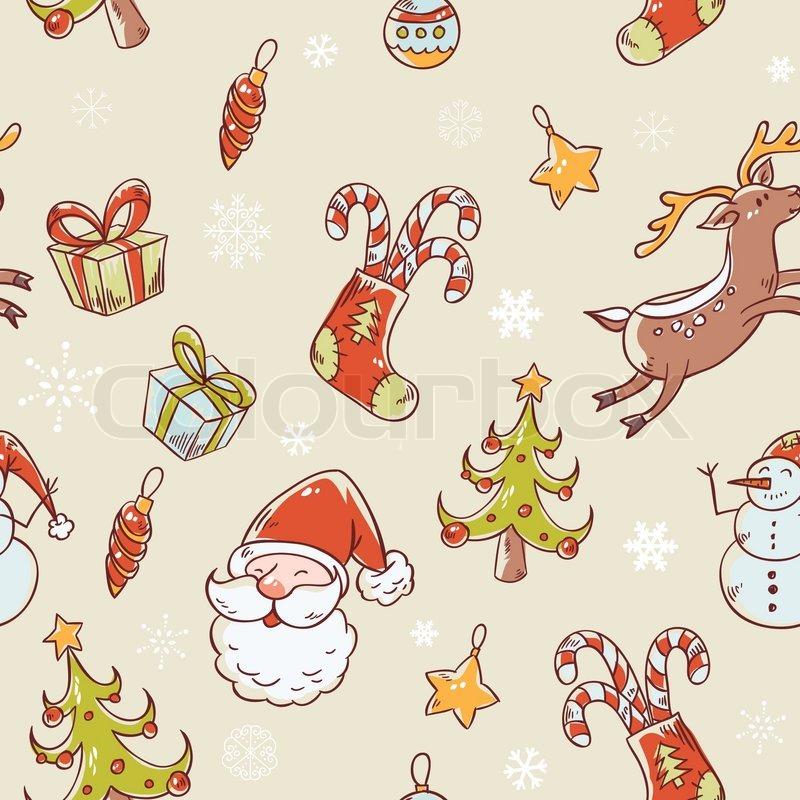 nahtlose weihnachten hand gezeichnete muster mit tanne strumpf zuckerstange santa klausel. Black Bedroom Furniture Sets. Home Design Ideas